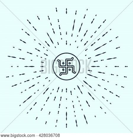 Black Line Hindu Swastika Religious Symbol Icon Isolated On Grey Background. Abstract Circle Random