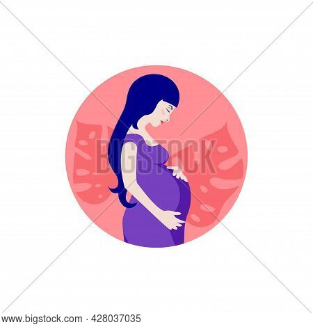 Profile Of Pregnant Young Woman With Big Belly. Caring For Future Child Illustration. Mother And Chi