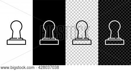 Set Line Coffee Tamper Icon Isolated On Black And White Background. Vector