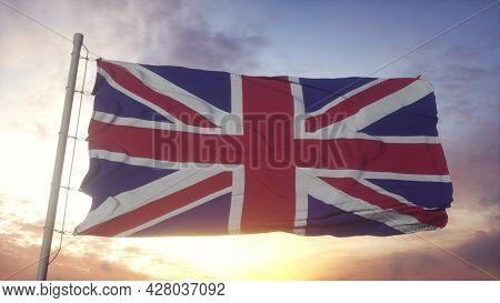 United Kingdom Flag Waving In The Wind. National Flag Of United Kingdom. 3d Rendering