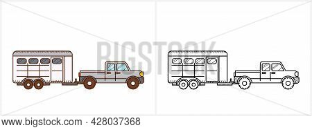 Horse Trailer Coloring Book For Kid. Horse Trailer