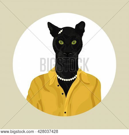 People Art Animal Panther, Character Portrait Animal In Cloth Fashion. Hipster Animal