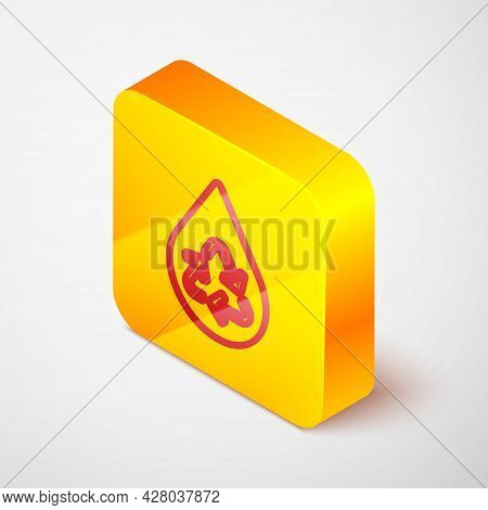 Isometric Line Recycle Clean Aqua Icon Isolated On Grey Background. Drop Of Water With Sign Recyclin