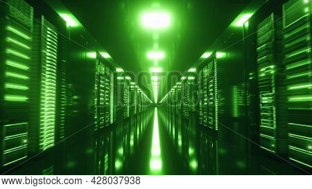 Modern Working Server Room With Rack Servers. Data Center With Endless Servers. 3d Rendering