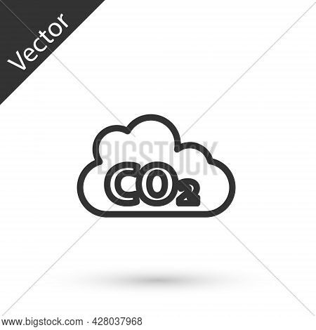 Grey Line Co2 Emissions In Cloud Icon Isolated On White Background. Carbon Dioxide Formula, Smog Pol