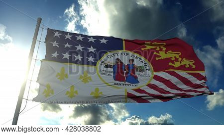 Detroit City Flag, City Of Usa Or United States Of America, Waving At Wind In Blue Sky. 3d Rendering