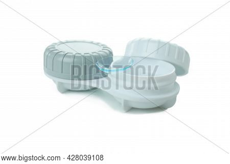 Concept Of Contact Lenses Isolated On White Background