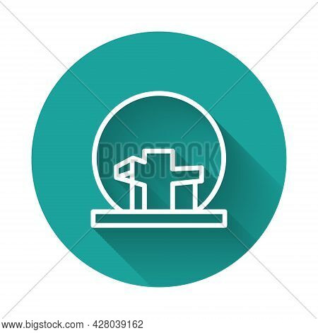 White Line Montreal Biosphere Icon Isolated With Long Shadow. Green Circle Button. Vector
