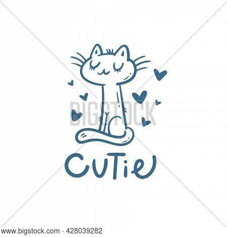 Card With  Cute Cartoon  Cat.  Funny Doodle Kitten. Vector Contour Image. Beautiful Animal Print.