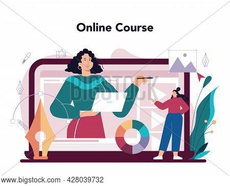 Advert Designer Online Service Or Platform. Artist Creating An Advertisment