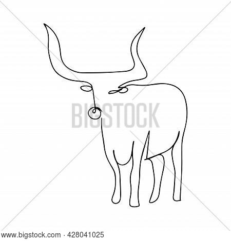 Vector Illustration Of A Bull. One Line Style. Domestic Cattle. Ready Logo, Emblem Of A Bull, Buffal