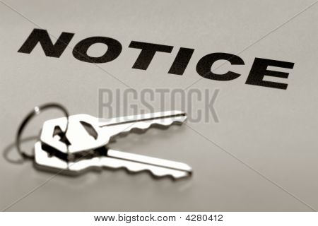 Real Estate Notice With Set Of Keys