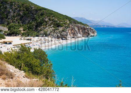 Aerial View Of Canyon At Gjipe Beach, Himara, Albania, Albanian Riviera