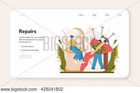 Shoemaker Web Banner Or Landing Page. Craftsman Wearing An Apron