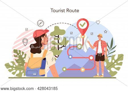 Tour Guide Concept. Tourists Following A Wild Route. Hiking Tour, Wildlife