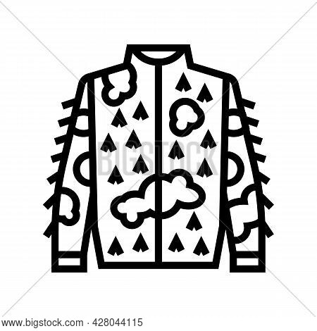 Camouflage Jacket For Hunting Line Icon Vector. Camouflage Jacket For Hunting Sign. Isolated Contour