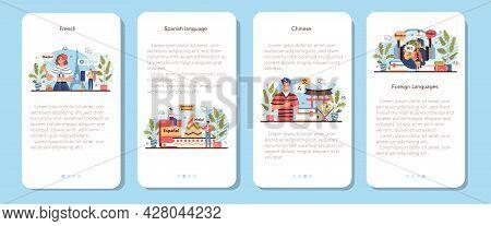 Language School Mobile Application Banner Set. Professor Teaching