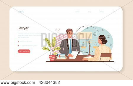 Professional Lawyer Web Banner Or Landing Page. Punishment