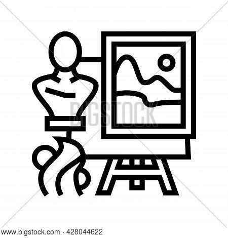 Art School Lesson Line Icon Vector. Art School Lesson Sign. Isolated Contour Symbol Black Illustrati