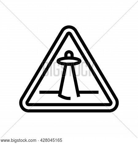 Alien Abduction Warning Line Icon Vector. Alien Abduction Warning Sign. Isolated Contour Symbol Blac
