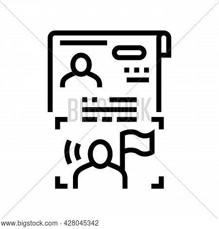 Visa As Political Asylum Line Icon Vector. Visa As Political Asylum Sign. Isolated Contour Symbol Bl
