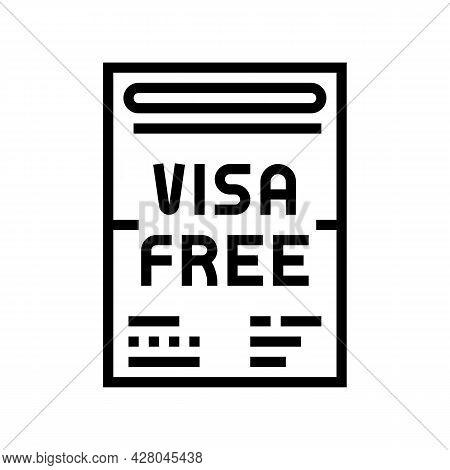 Visa-free Regime Line Icon Vector. Visa-free Regime Sign. Isolated Contour Symbol Black Illustration