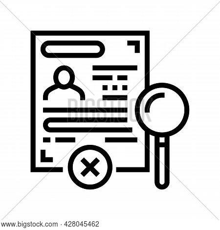 Visa Rejection Line Icon Vector. Visa Rejection Sign. Isolated Contour Symbol Black Illustration