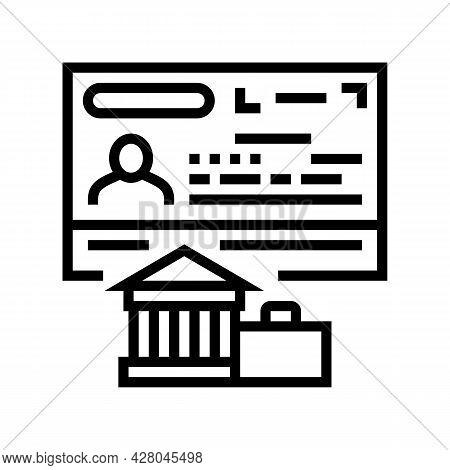 Diplomatic Visa Line Icon Vector. Diplomatic Visa Sign. Isolated Contour Symbol Black Illustration