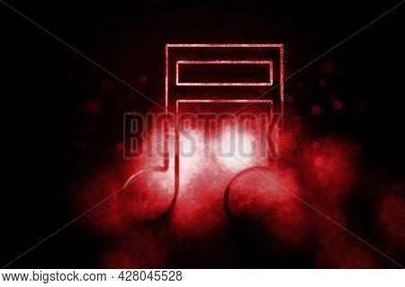 Beamed Sixteenth Note Symbol, Music Background, Blue Symbol