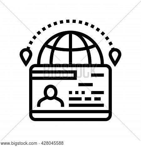 Immigration Visa Line Icon Vector. Immigration Visa Sign. Isolated Contour Symbol Black Illustration