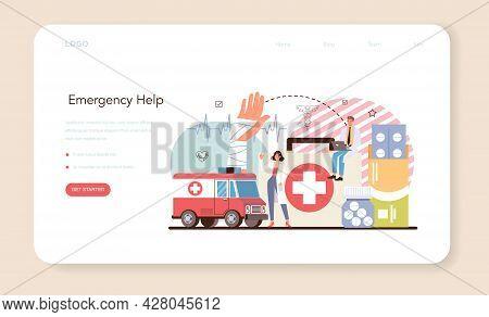 Urgency Rescuer Web Banner Or Landing Page. Ambulance Lifeguard