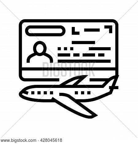 Transit Visa Line Icon Vector. Transit Visa Sign. Isolated Contour Symbol Black Illustration