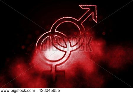 Male And Female Sex Symbol, Heterosexuality,sex Education, Blue Symbol