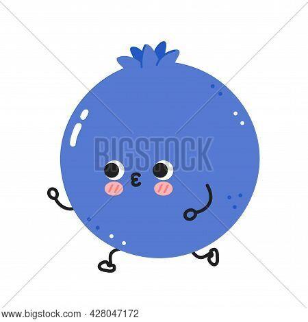 Cute Funny Blueberry Berry Jogging Run. Vector Flat Line Cartoon Kawaii Character Illustration Icon.