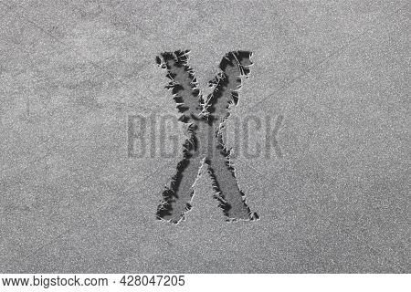 Chi Sign. Chi Letter, Greek Alphabet Symbol, Rugged, Silver Background