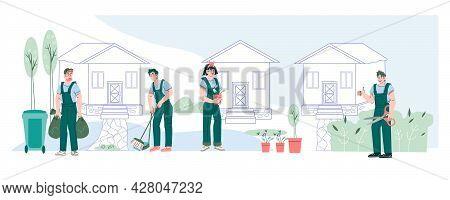 Professional Garden Care And Tree Trimming Services Banner With Characters Of Gardeners Planting And