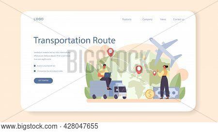 Freight Forwarder Web Banner Or Landing Page. Loader In Uniform Delivering