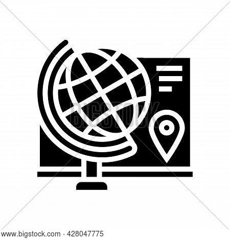 Geography School Subject Glyph Icon Vector. Geography School Subject Sign. Isolated Contour Symbol B
