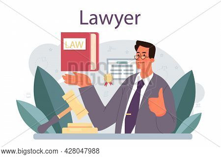 Lawyer Concept. Law Advisor Or Consultant, Advocate Defending