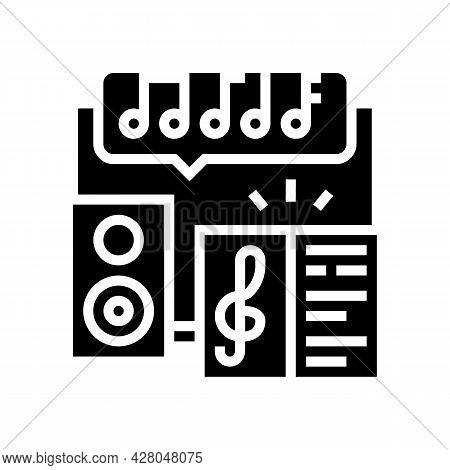 Music School Lesson Glyph Icon Vector. Music School Lesson Sign. Isolated Contour Symbol Black Illus
