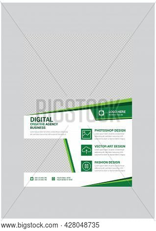 Green And White Creative Corporate Business Agency Flyer Design Template