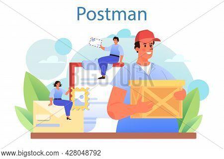 Postman Profession. Post Office Staff Providing Mail Service