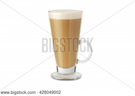 Latte Macchiato In Beautiful Cup On An Isolated White Background With Natural Shadow. Cappuccino Foa