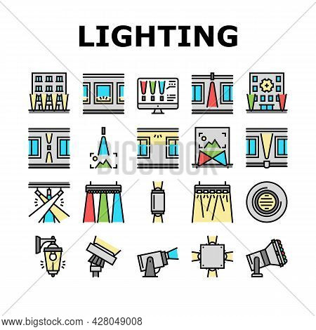 Facade Lighting Tool Collection Icons Set Vector. Building Facade Lighting Electrical Equipment, Ext