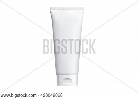 Сream Tube Packaging Isolated On White Background Clipping Path. Tube Of Cream Or Gel White Plastic