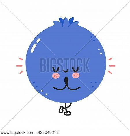 Cute Funny Blueberry Berry Make Gym With Hula Hoop. Vector Flat Line Cartoon Kawaii Character Illust