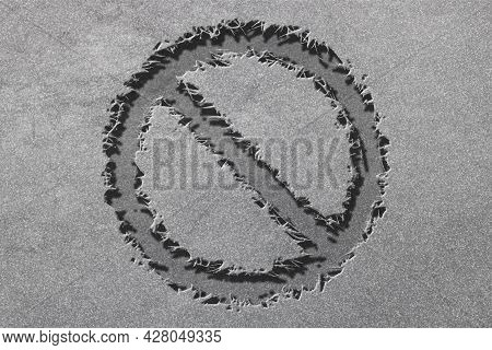 No Sign Or No Symbol, Prohibition And Restriction, Censorship, Rugged, Silver Background
