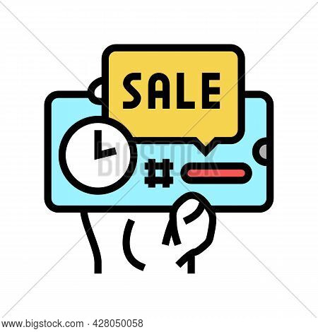 Discount Sale Card Ephemeral Color Icon Vector. Discount Sale Card Ephemeral Sign. Isolated Symbol I