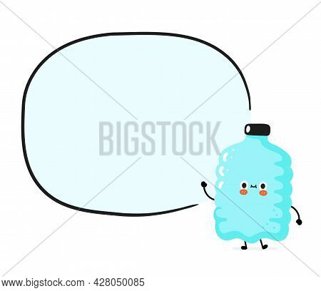 Cute Funny Happy Smile Plastic Bottle Character With Text Box. Vector Cartoon Character Sticker Illu
