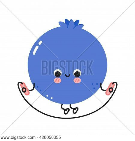 Cute Funny Blueberry Berry Make Gym With Jump Rope. Vector Flat Line Cartoon Kawaii Character Illust